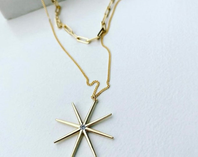 Gold Double Chain Star Asterisk Necklace