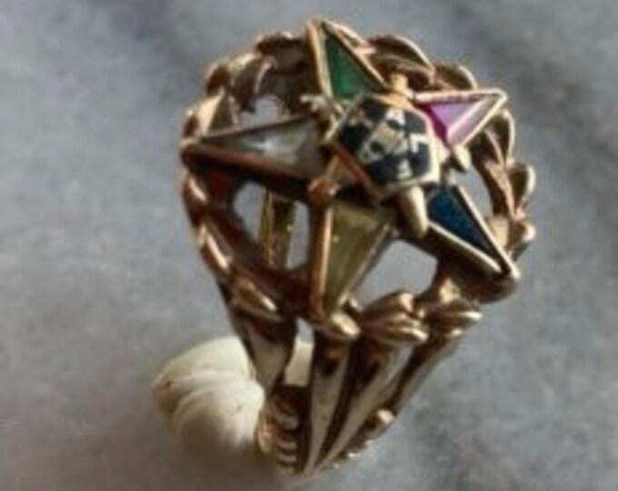 Order of the Eastern Star Masonic Women's Ring, Pentagram Ring, 10k gold, FATAL ring