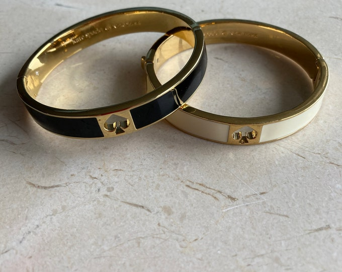 "One vintage Kate Spade ""Spade""  Enamel Gold Tone Hinged Bangle Bracelet-Ivory or Black"