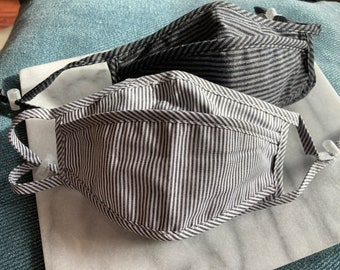 Grey and Black Stripe Face Mask