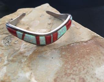 Coral and Opal bracelet // jimmy secatero bracelet // navajo bracelet // southwestern jewelry