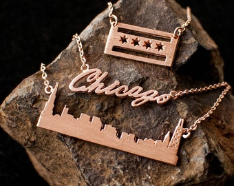 Chicago Necklace, Chicago Gift, Chicago, Chicago Flag Necklace, Chicago Script Necklace, Chicago Skyline Necklace,