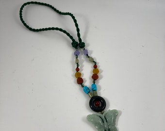 Vintage Jade Butterfly Necklace