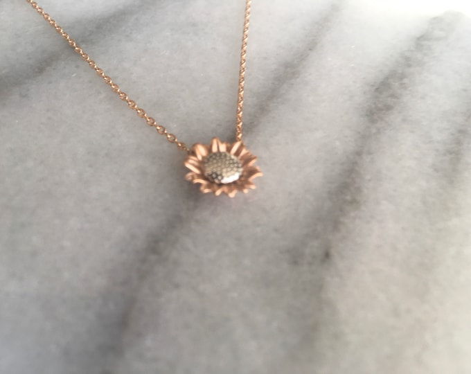 Rose Gold and Silver Sunflower Necklace