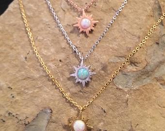 Opal Necklace // Opal Sun Necklace // Tiny Opal Necklace
