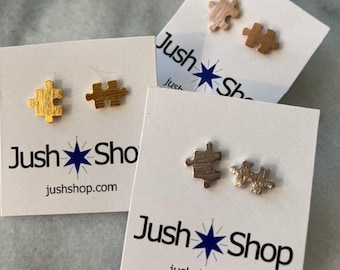 Puzzle Earrings, Puzzle Piece Earrings