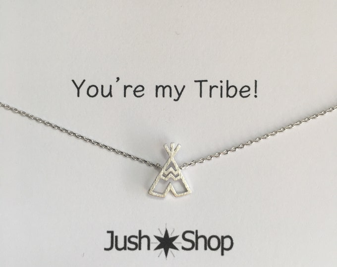 Silver Tribe Necklace,  Silver Tee Pee Necklace,  Silver Teepee, my tribe