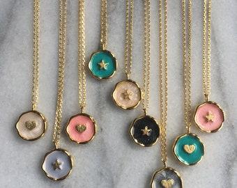 Coin Necklace // Enamel Coin Necklace