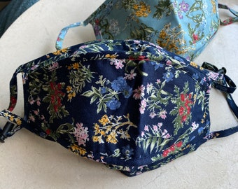 Prairie Floral Face Mask, face mask, navy floral face mask, sky blue face mask, comfortable face mask, breathable face mask, blue flowers