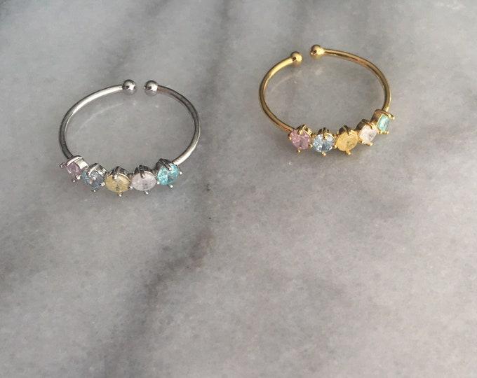 Pastel Stone Zirconia Ring