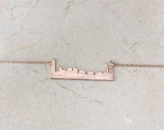Rose Gold Chicago Skyline Necklace