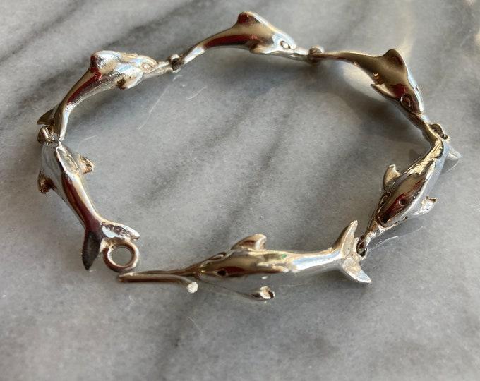 Sterling Silver Dolphin Bracelet and Earrings