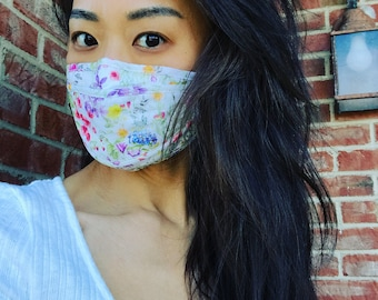 Face Mask, Women's Face Mask, Face Covering, Flower Face Mask, White Face Mask, The Best Face Mask, Botanical Floral Face Mask