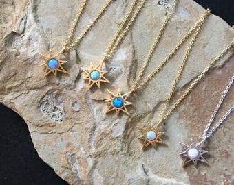 Sunburst Necklace,  Starburst necklace, Opal Necklace