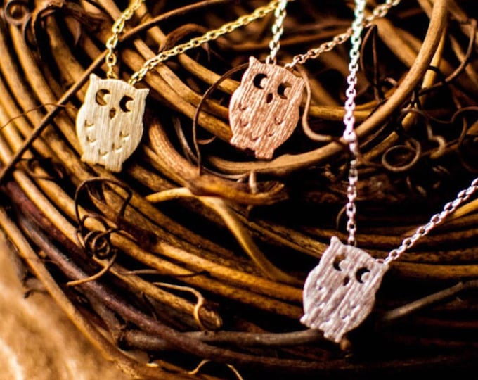Owl Necklace Silver, Gold or Rose Gold