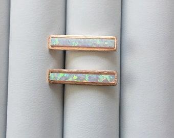 Rose Gold White Opal earrings