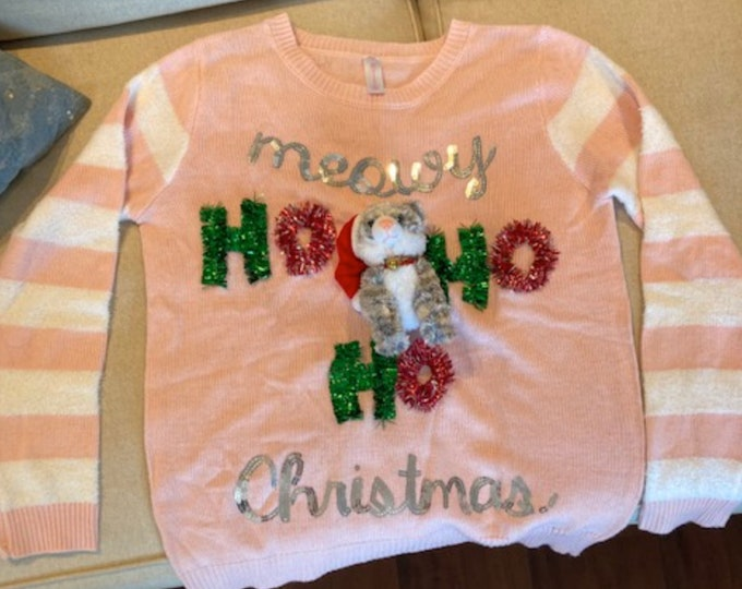 Ugly Christmas Sweater, Cat Christmas Sweater, Meowy Christmas Sweater