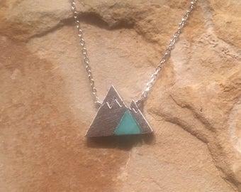 Silver Mountain Necklace Green Stone Silver Mountain Necklace Mount Rainer Grand Canyon Colorado Rockies
