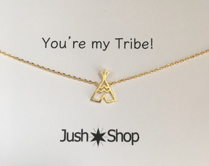 Gold Tribe Necklace,  Gold Tee Pee Necklace,  Gold Teepee, My Tribe