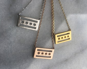 Chicago Flag Necklace. // chicago flag  // BUY CHICAGO LOCAL!!
