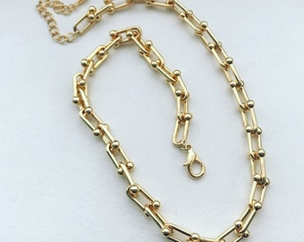 Hard Ware Chain Necklace, Chain Link Necklace, Hardware Chain Necklace, Gold Chain Link Necklace, Silver Hardware Necklace