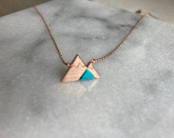Mountain Necklace, Rose Gold Mountain Necklace, Turquoise Mountain Necklace, Hiking Necklace, Mountain Lover, Camping Necklace
