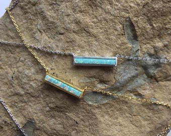 Aqua Green Opal Bar Necklace