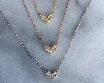 Tiny Heart Necklace, Dainty Heart, CZ Heart Necklace,  Rhinestone Heart Necklace,  Dainty Heart Necklace