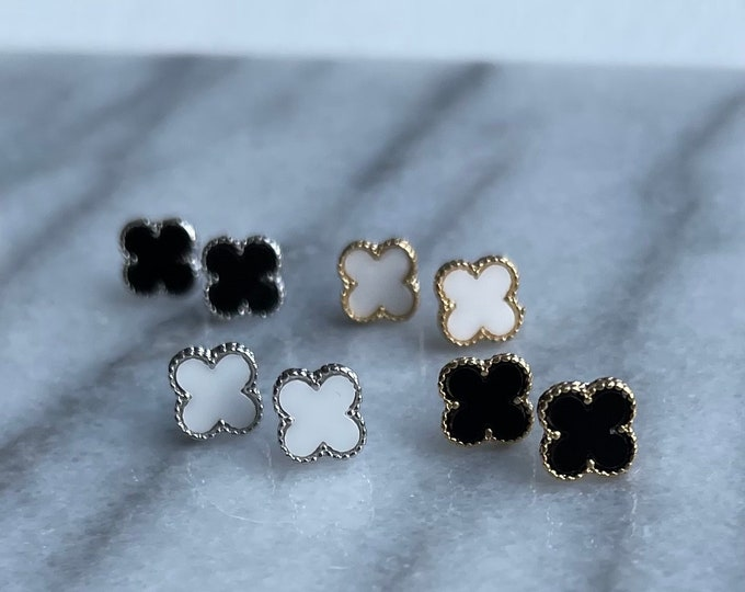 Clover Earrings, White Clover Earrings, Mother of Pearl Clover Earrings, Gold Clover Earrings, Silver Clover Earrings, Clover Earring
