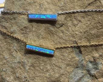 Blue Opal Bar Necklace