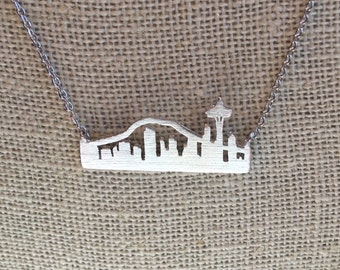 Silver Seattle Skyline Necklace