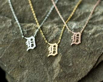 Detroit Necklace, D necklace, D pendant, Michigan necklace, Old English D necklace, Detroit D necklace, Detroit gift, Detroit Tigers