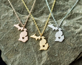 Michigan Necklace // State of Michigan Necklace // Dainty Michigan Necklace