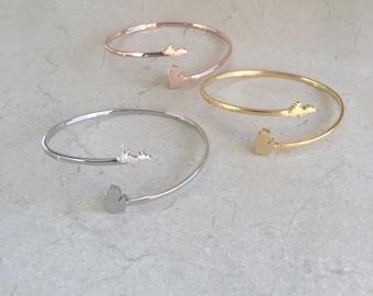 Michigan Bracelet, Michigan Cuff Bracelet