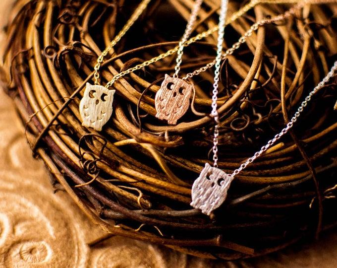 Owl necklace, owls necklace, dainty owl,  tiny owl,  small owl