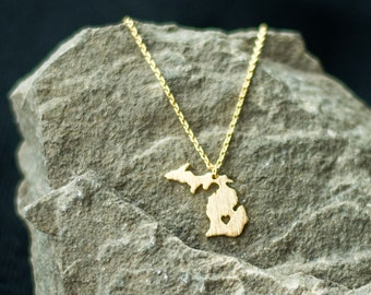 Gold Michigan Necklace