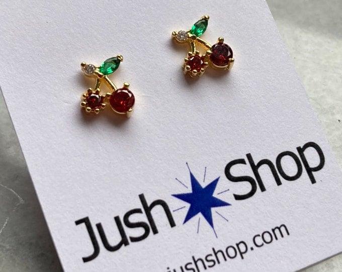 Cherry Earrings, Cherries Earrings, Fruit Earrings