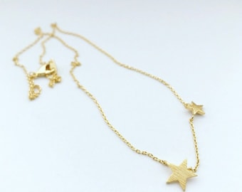 Star Necklace double star necklace stars necklace superstar necklace  silver star  necklace gold star necklace