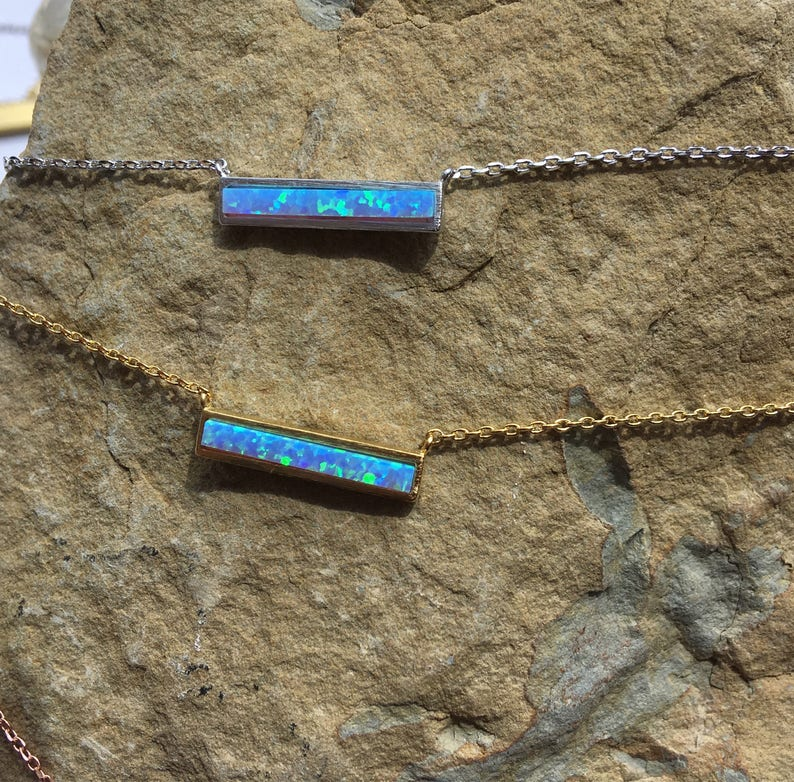 White Opal Bar Necklace