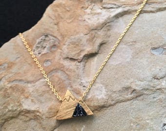 Gold Mountain Necklace with black stone Black Marble Mountain