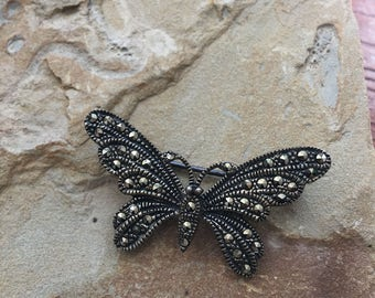 Butterfly Pin, silver butterfly pin, vintage butterfly, 925 marcasite, vintage butterfly pin,