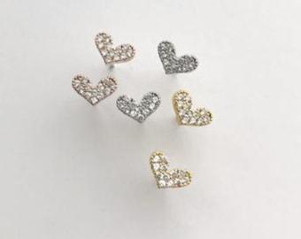 Tiny Heart Earrings, Dainty Heart, CZ Heart Earrings,  Rhinestone Heart Earrings,  Dainty Heart Earring