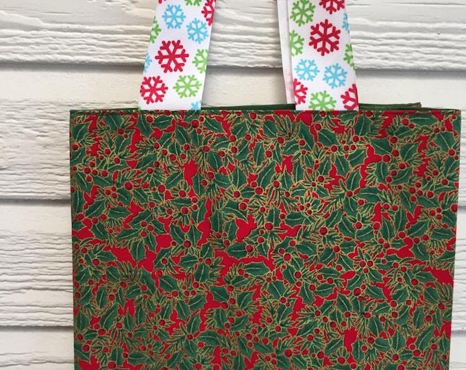 Fabric Christmas Bags, Reusable Christmas Gift bag, Gift Bag, Fabric Gift Bag, Christmas Gift Bag, Green and Gold Fabric, Fun GIft Bag