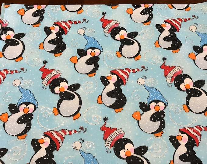Christmas Penguins, Christmas Placemats, Winter Penguins Decor, Dancing Penguins, Winter Placemats, Christmas Gifts, Blue Placemats