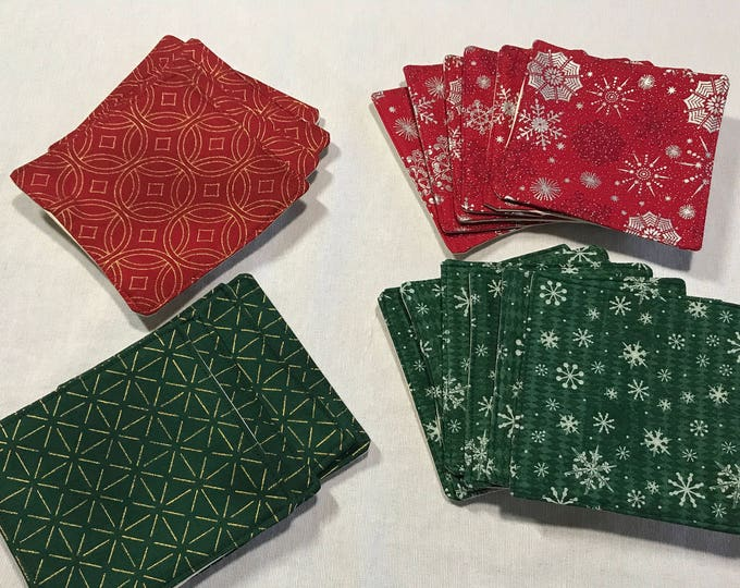Winter Coasters, Drink Coasters, Winter Decor, Red Coaster Set, Green Coaster Set, Winter Coaster Set, Fabric Coasters, Drink Coaster Sets