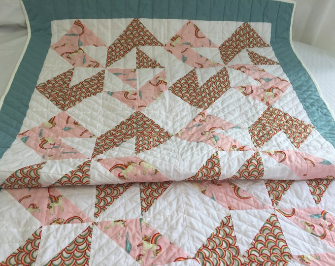 Girls Quilt, Baby Girl Quilt, Girls Pink Quilt, Baby Shower Gift, Toddlers Quilt, Gift for Family, Christmas Gift Ideas for kids, Playmat
