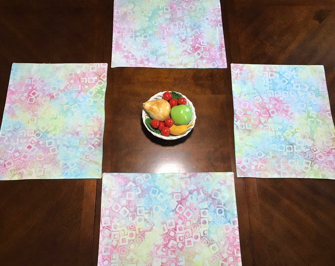 Modern Placemats, Modern Placemats Set, Modern Table Setting, Reversible Placemat, Geometric Placemats, Aqua Placemats, Housewarming Gift