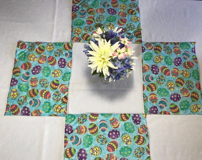 Blue Easter Placemats, Blue Placemats, Easter Placemats, Blue Quilted Placemats, Easter Egg Placemats, Colorful Placemats,Set of 4 Placemats
