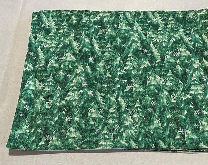 Green Placemats, Snowy Pine Trees, Green Winter Placemats, Christmas Trees, Placemats Green, Gift for Office Party, Pine Tree Placemats
