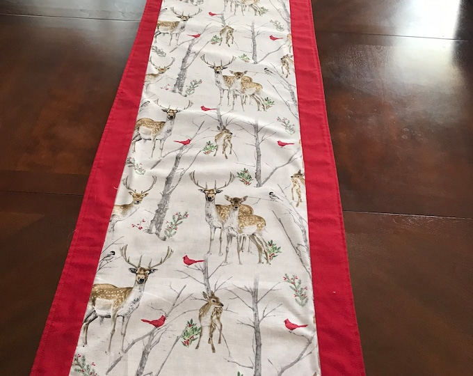 Winter Table Runner, Winter Scenery, Table Runner Winter, Outdoor Lovers Gifts, Deer and Cardinals, Nature Lovers Gifts, Housewarming Gifts